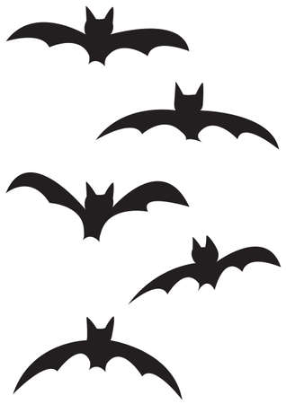 flapping: Bat silhouettes isolated on a white background