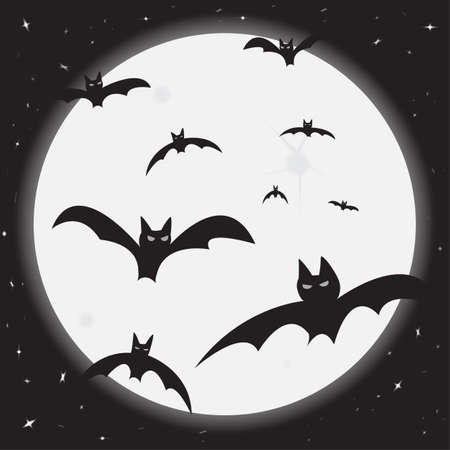 Bats flying in the moonlight with stars Illustration