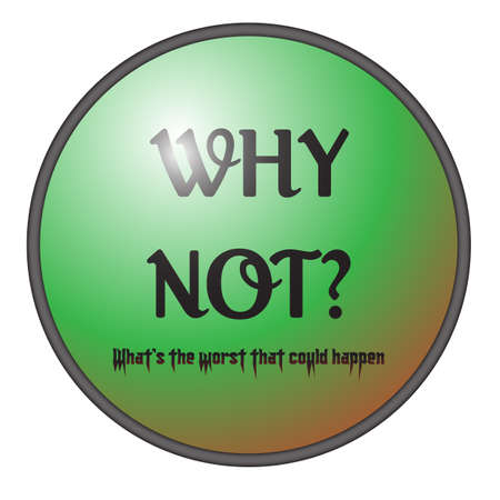 A  why not  big green button isolated on a white background Stock Vector - 30393749