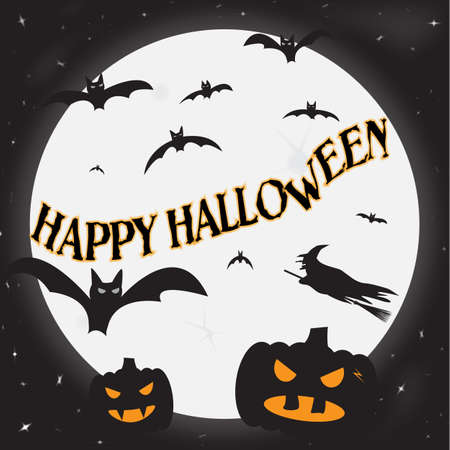 hocus pocus: A  Happy Halloween  image with pumpkins, bats and a witch Illustration