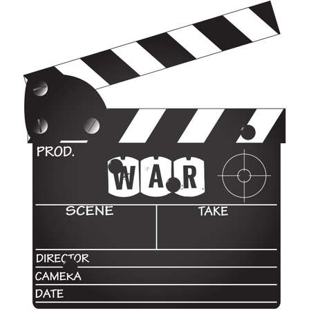bullet camera: A  War  genre clapper board isolated on a white background