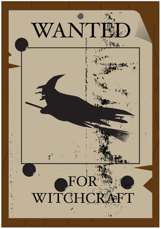 A wild west style  Wanted  poster with a flying witch