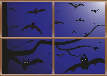 pane: Bats at night viewed through a window pane