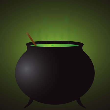 hocus pocus: A witch s cauldron in the dark with a green glow Illustration