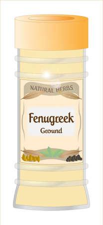 fenugreek: Ground fenugreek Jar Illustration