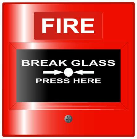 Fire Emergency Break Glass Button Vector