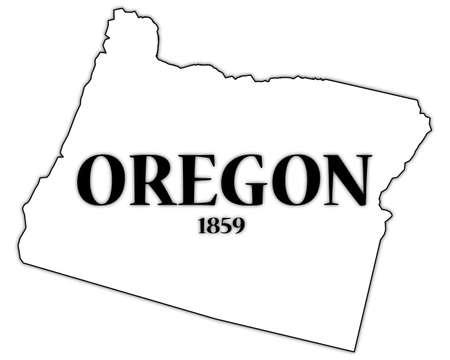 oregon coast: Oregon State and Date Illustration