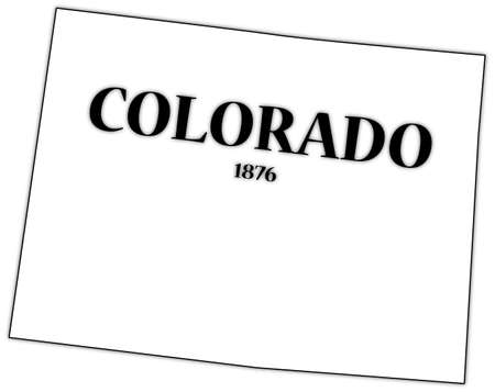 state of colorado: Colorado State and Date Illustration