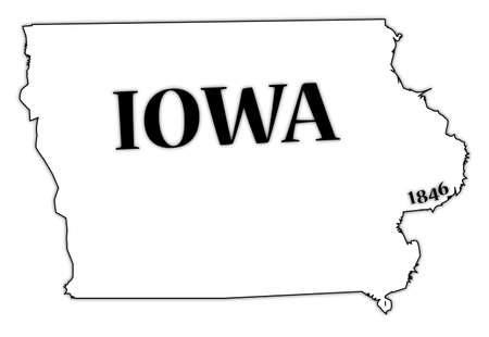 iowa: Iowa State and Date Illustration