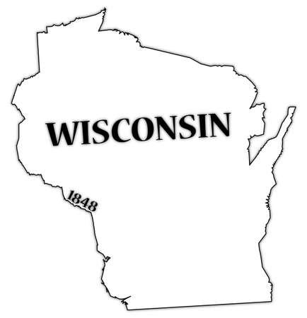 Wisconsin State en datum Stock Illustratie