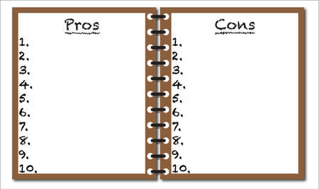 cons: Pros And Cons Notepad Illustration