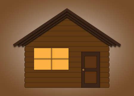 log wall: Log Cabin Illustration
