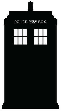 telephone box: Police Telephone Box Silhouette Illustration