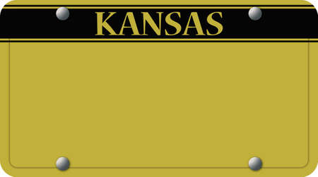 license plate: A yellow Kansas state license plate design on a white background
