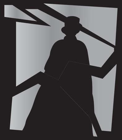 ripper: Jack the Ripper shadow on a broken mirror