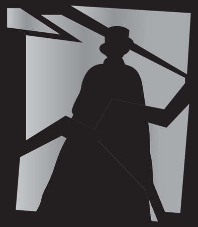 Jack the Ripper shadow on a broken mirror
