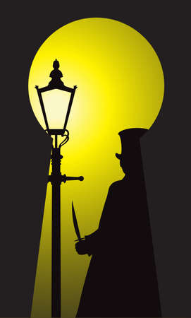 Jack the Ripper with a victorian street lamp viewed through a keyhole