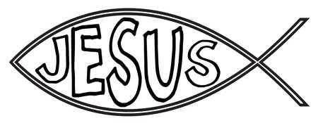 pez cristiano: Pescados cristianos con Jes�s aislado en un fondo blanco Vectores