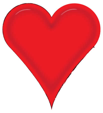 february 14th: Red Heart design isolated on a white background
