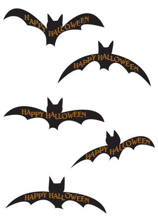 Halloween Bat Silhouettes isolated on a white background Illustration