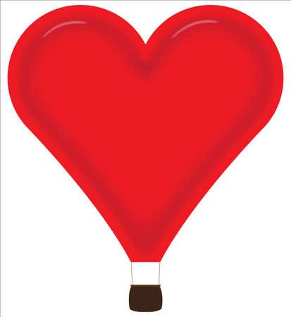 inflar: Globo aerost�tico coraz�n aislado en un fondo blanco