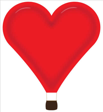 february 14th: Heart Hot Air Balloon Isolated on a white background