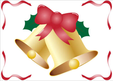 Christmas Bells with Holly and Ribbon Illustration