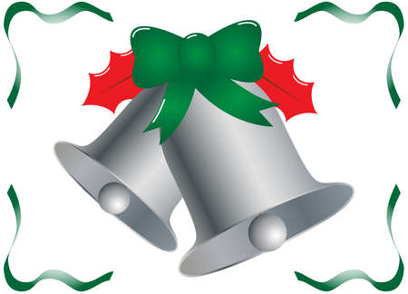 ding dong: Silver Christmas Bells with Holly and Ribbon