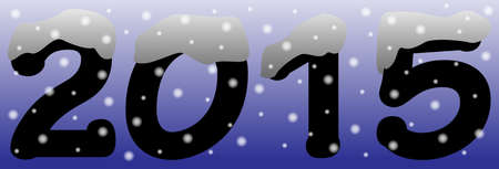 january 1st: A 2015 logo with snow and snowdrops on a blue night sky background