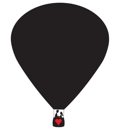 hot couple: A hot air balloon with a couple and a red heart silhouette isolated on a white background