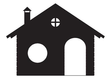 Stone Chalet silhouet geïsoleerd op een witte achtergrond Stock Illustratie