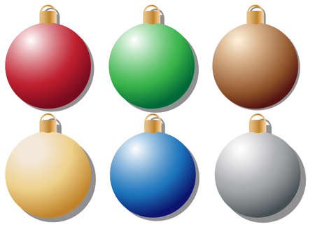coloured: Coloured Baubles Illustration