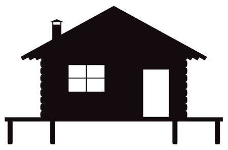 A log cabin on stilts silhouette isolated on a white background