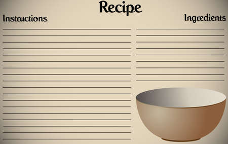 copy writing: A recipe page design with a bowl Illustration