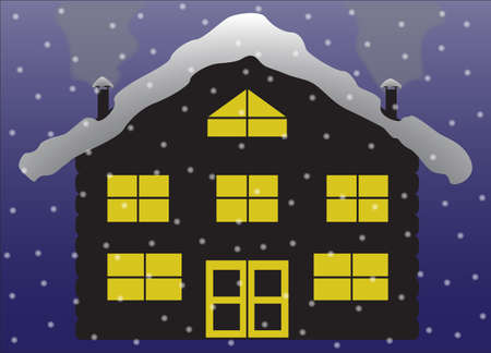 chalet: A lodge or chalet in the snow