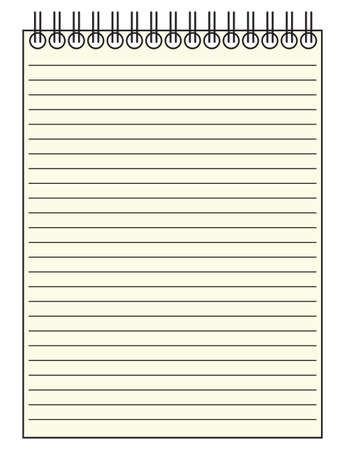 copy writing: A lined notepad isolated on a white background