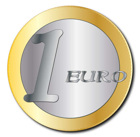 A euro coin design isolated on a white background