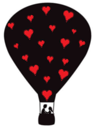 hot couple: A hot air balloon silhouette with love hearts and a couple isolated on a white background