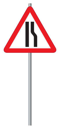 narrows: A road narrows ahead road signpost isolated on a white background