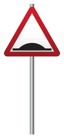 bump: A bump or hump ahead road signpost isolated on a white background