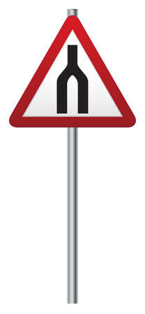 A roads merge ahead road signpost isolated on a white background Illustration