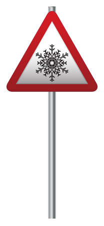 A snow ahead road signpost isolated on a white background Vector