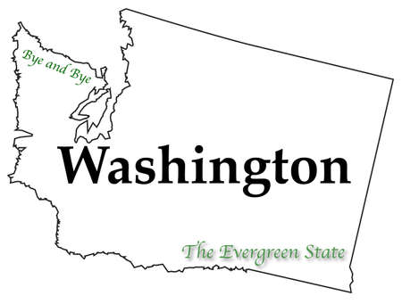 motto: Washington state motto and slogan isolated on a white background