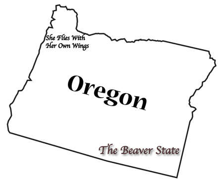 motto: Oregon state motto and slogan isolated on a white background Illustration