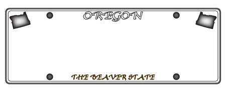 An Oregon license plate isolated on a white background Illustration