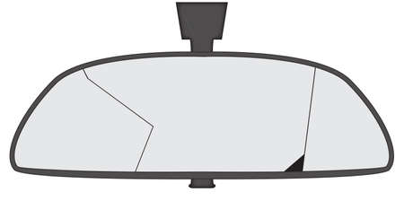 rear view mirror: A smashed car rear view mirror isolated on a white background