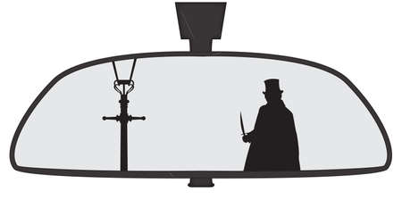 rear view mirror: Jack the Ripper in a car rear view mirror isolated on a white background