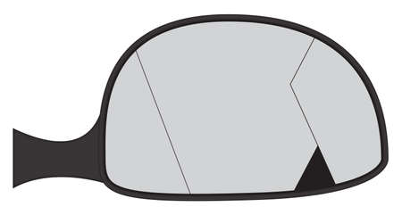 car side: A cracked car side mirror isolated on a white background