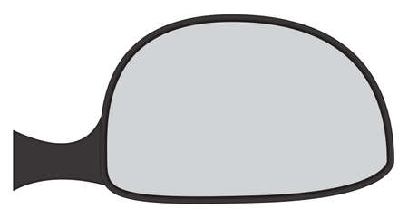 backwards: A car side mirror isolated on a white background