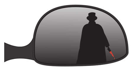rear wing: Jack the Ripper in a car side mirror isolated on a white background